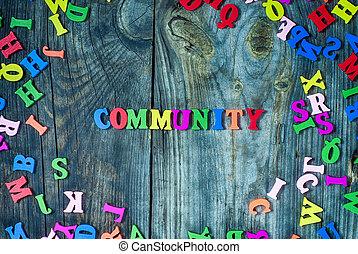 petit, lettres, mot, communauté, multi-coloré