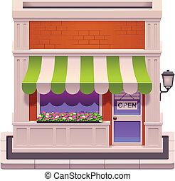 petit, magasin, vecteur, icône