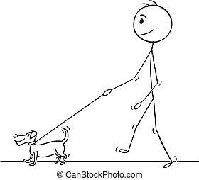 petit, marche, homme, chien, dessin animé