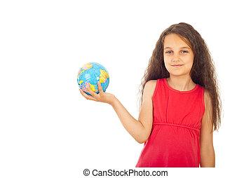 petit monde, girl, globe, tenue