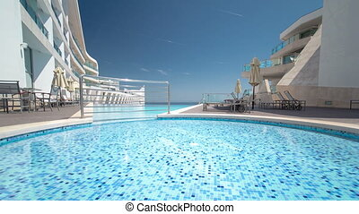 petit, natation, portugal, timelapse, sesimbra, piscine, ensoleillé, réflexions, hôtel