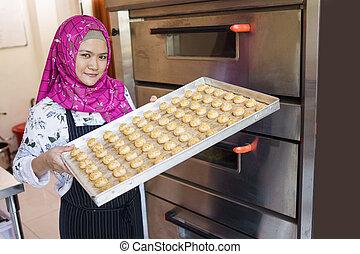 petit, patisserie, elle, boulangerie, propriétaire, business