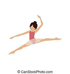 petit, pose, lances, coloré, danseur