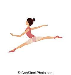 petit, position, danseur, lances, coloré