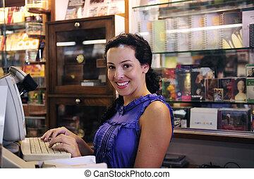 petit, propriétaire, librairie, business/