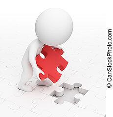 petit, puzzle, 3d, -, gens