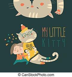 petit, rigolote, girl, chaton