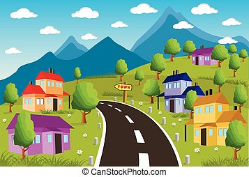 petit, rural, paysage ville