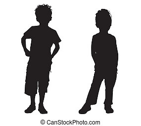 petit, silhouette, amis