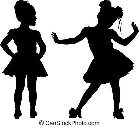 petit, silhouette, enfants, heureux