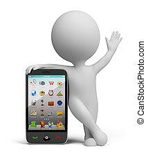 petit, smartphone, -, 3d, gens
