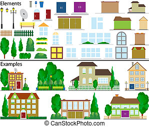 petit, suburbain, houses.