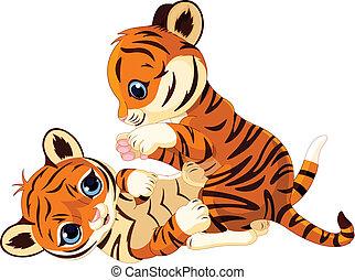 petit tigre, espiègle, mignon