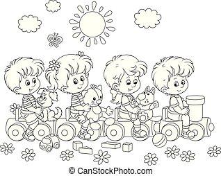 petit, train, jouet, cour de récréation, enfants