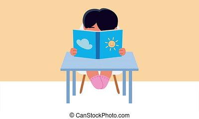 petite fille, étudiant, manuel, bureau, lecture