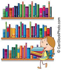 petite fille, bibliothèque
