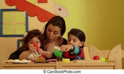 petite fille, enfant, prof, école