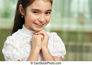 petite fille, heureux