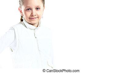petite fille, isolé, portrait, sourire, blanc, heureux