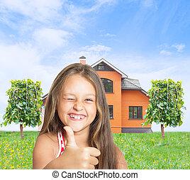 petite fille, maison, pouce, projection, rouges, rigolote