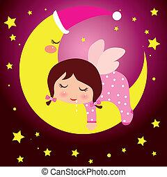 petite fille, rêver, lune