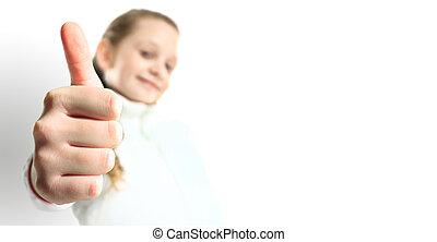 petite fille, signe, isolé, haut, pouces, blanc, sourire
