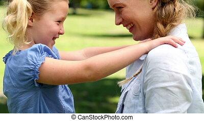 petite mère, girl, heureux, elle