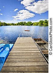 petite maison, été, lac, dock, pays