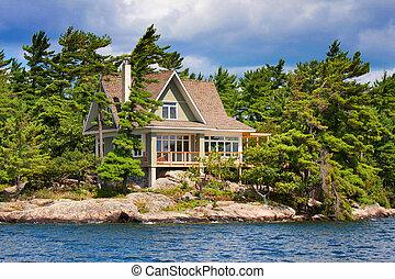petite maison bois, lac