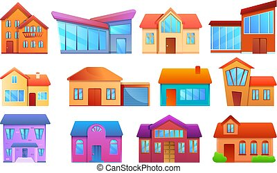petite maison, ensemble, style, dessin animé, icônes