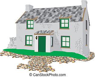 petite maison, maçonnerie, pierre, -