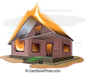 petite maison, maison, brique, burns., brûler