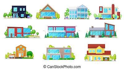petite maison, maison, manoir, villa, plat, maison, icônes