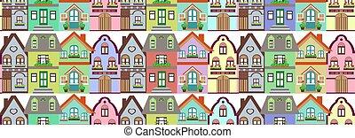 petite maison, modèle, seamless, coloré, maisons