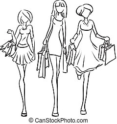 petites amies, boutique, aller