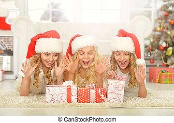 petites filles, chapeaux, santa
