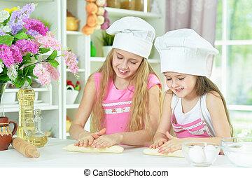 petites filles, confection, mignon, pâte, chapeaux, chefs