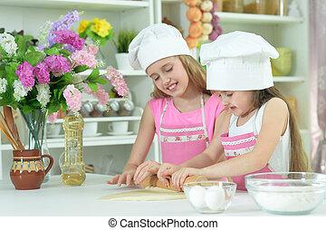 petites filles, confection, mignon, pâte, chapeaux