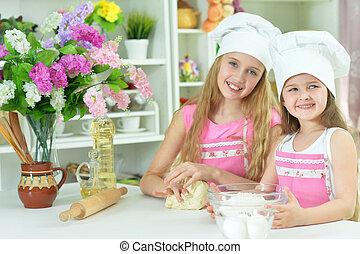 petits chefs, mignon, chapeaux, pâte, filles, confection