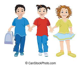 petits enfants, trois, heureux