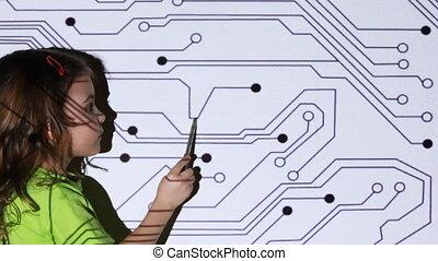 peu, écran projecteur, mouvement, stylo, stand, devant, girl