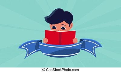 peu, étudiant, manuel, lecture, garçon
