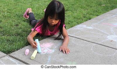 peu, art, trottoir, girl, créer
