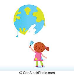 peu, artiste, la terre, tableau enfant