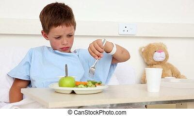 peu, avoir, garçon, malade, déjeuner, lit, séance