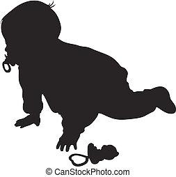 peu, bébé, silhouette