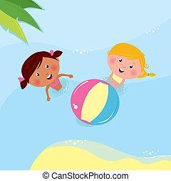 peu, balle, jouer, vacances, mer, filles, &, holiday: