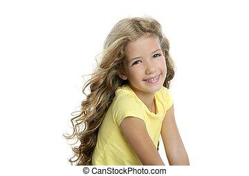 peu, blonds, isolé, jaune, sourire, tshirt, fond, portrait, blanc, girl