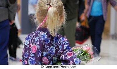 peu, bouquet, salon, roses, aéroport, girl