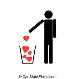 peu, cœurs, déchets ménagers, dehors, jets, rouges, homme